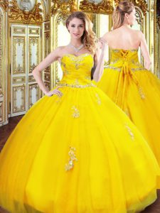 Gold Lace Up Sweetheart Beading and Appliques Sweet 16 Dresses Organza Sleeveless