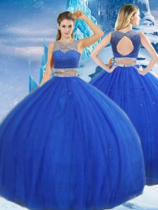 Tulle Scoop Sleeveless Clasp Handle Beading and Sequins Quinceanera Gown in Royal Blue