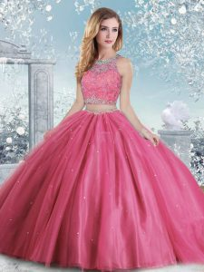 Beautiful Floor Length Clasp Handle Quinceanera Dresses Hot Pink for Military Ball and Sweet 16 and Quinceanera with Beading and Sequins