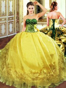 Romantic Gold Ball Gowns Organza Sweetheart Sleeveless Embroidery and Ruffles Floor Length Lace Up Sweet 16 Dress
