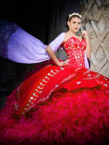 Free and Easy Red Lace Up Quinceanera Gown Embroidery and Ruffles Sleeveless Brush Train