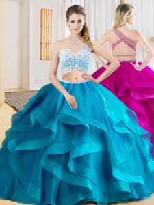 Sleeveless Tulle Floor Length Criss Cross Quinceanera Dresses in Baby Blue with Beading and Ruffles