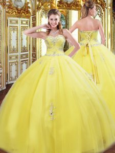 Yellow Sweet 16 Dress Military Ball and Sweet 16 and Quinceanera with Beading and Appliques Sweetheart Sleeveless Lace Up