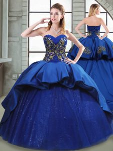 Elegant Blue Sweetheart Neckline Beading and Appliques and Embroidery 15th Birthday Dress Sleeveless Lace Up
