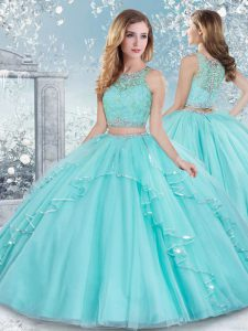 Floor Length Aqua Blue 15 Quinceanera Dress Tulle Sleeveless Beading and Lace