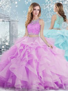 Lilac Ball Gowns Scoop Sleeveless Organza Floor Length Clasp Handle Beading and Ruffles Quinceanera Dresses