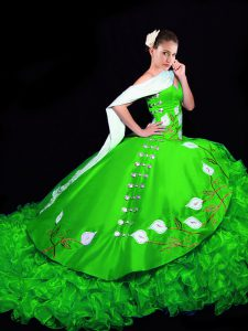 Captivating Ball Gowns Sleeveless Green Quinceanera Gowns Brush Train Lace Up