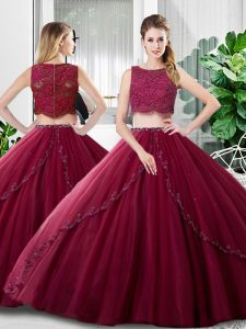 Deluxe Floor Length Burgundy Sweet 16 Dress Tulle Sleeveless Lace and Ruching
