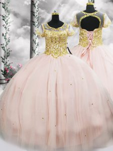 Enchanting Pink Tulle Lace Up Sweet 16 Quinceanera Dress Short Sleeves Floor Length Beading