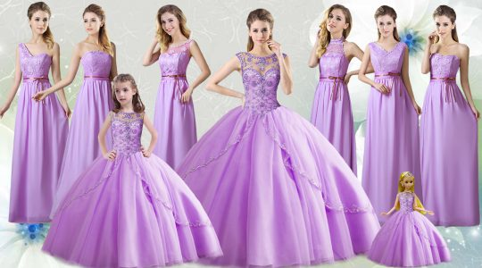 Beading Quinceanera Dress Lilac Lace Up Sleeveless Floor Length