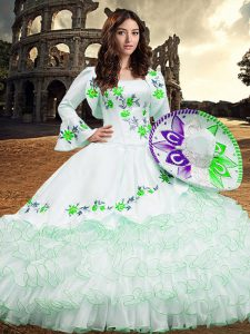 Eye-catching White Lace Up Quince Ball Gowns Embroidery and Ruffled Layers Long Sleeves Floor Length