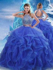 Gorgeous Royal Blue Zipper Ball Gown Prom Dress Beading and Ruffles Sleeveless Floor Length