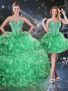 Customized Floor Length Green Quinceanera Gown Sweetheart Sleeveless Lace Up