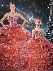 New Arrival Rust Red Organza Lace Up Sweetheart Sleeveless Floor Length 15th Birthday Dress Beading and Ruffles