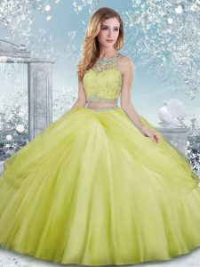 Yellow Green Ball Gowns Beading Vestidos de Quinceanera Clasp Handle Tulle Sleeveless Floor Length