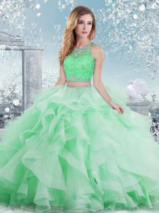 Extravagant Apple Green Sleeveless Beading and Ruffles Floor Length Ball Gown Prom Dress