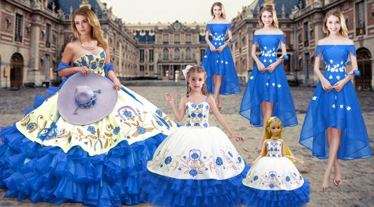 Royal Blue Sweetheart Neckline Embroidery and Ruffled Layers 15th Birthday Dress Sleeveless Lace Up