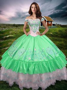 Green Taffeta Lace Up Quince Ball Gowns Sleeveless Floor Length Beading and Embroidery and Ruffled Layers