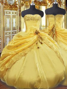 Gorgeous Gold Quinceanera Dresses Military Ball and Sweet 16 and Quinceanera with Beading and Pick Ups Strapless Sleeveless Lace Up