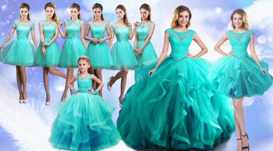 Sleeveless Floor Length Beading and Lace Lace Up Sweet 16 Dress with Turquoise