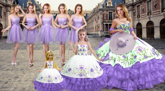 Charming Lavender Sleeveless Embroidery and Ruffled Layers Floor Length Quinceanera Gown