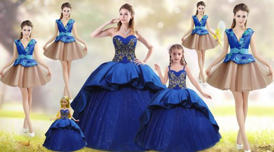 Pretty Blue Sweetheart Lace Up Beading and Appliques and Embroidery Sweet 16 Quinceanera Dress Court Train Sleeveless