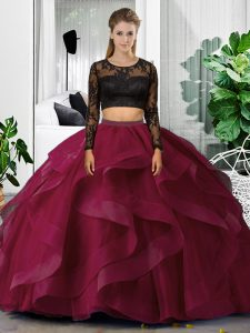 Superior Fuchsia Two Pieces Tulle Scoop Long Sleeves Lace and Ruffles Floor Length Backless Quinceanera Dresses