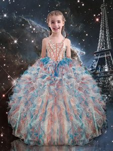 Multi-color Pageant Dress for Girls Quinceanera and Wedding Party with Beading and Ruffles Straps Sleeveless Lace Up