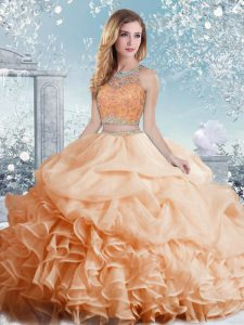 Peach Scoop Neckline Beading and Ruffles and Pick Ups Quinceanera Gowns Sleeveless Clasp Handle