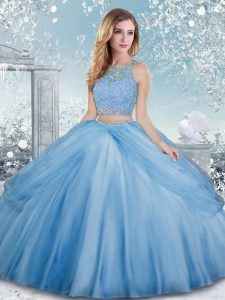 Eye-catching Baby Blue Ball Gowns Beading Quinceanera Dresses Clasp Handle Tulle Sleeveless Floor Length