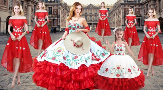 Smart Red Lace Up Sweetheart Embroidery and Ruffled Layers Quinceanera Gown Organza Sleeveless