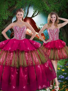 Ideal Organza Sleeveless Floor Length Quinceanera Dresses and Beading and Ruffled Layers