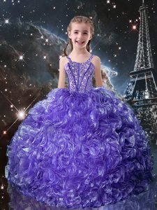 Best Ball Gowns Pageant Dresses Purple Straps Organza Sleeveless Floor Length Lace Up