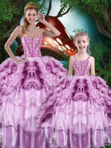 Custom Designed Sleeveless Lace Up Floor Length Beading and Ruffles and Ruffled Layers Sweet 16 Dresses