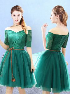 Knee Length Green Dama Dress Off The Shoulder Half Sleeves Lace Up