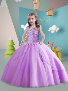 Custom Designed Ball Gowns Sleeveless Lavender Kids Formal Wear Brush Train Lace Up