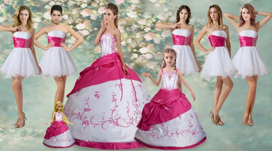 Ball Gowns Quinceanera Dress White Strapless Taffeta Sleeveless Floor Length Lace Up