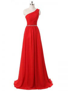 Empire Dama Dress Red One Shoulder Chiffon Sleeveless Floor Length Side Zipper