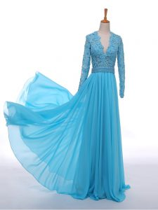 Fashion Baby Blue Empire V-neck Long Sleeves Chiffon Floor Length Zipper Lace Mother Of The Bride Dress