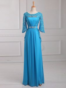 Suitable Baby Blue 3 4 Length Sleeve Chiffon Zipper Mother Of The Bride Dress for Prom and Military Ball and Beach