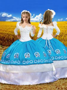 Off The Shoulder 3 4 Length Sleeve Kids Pageant Dress Floor Length Embroidery and Ruffles Blue And White Taffeta