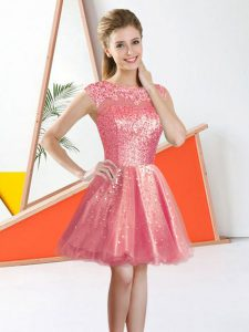 Clearance Organza Bateau Sleeveless Backless Beading and Lace Dama Dress for Quinceanera in Watermelon Red