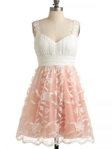 Glittering Knee Length Peach Dama Dress for Quinceanera Lace Sleeveless Lace