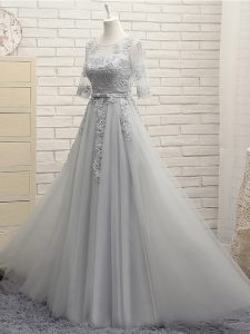 Stunning Grey Scoop Neckline Appliques Dama Dress Half Sleeves Lace Up