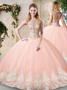 Affordable Tulle Scoop Sleeveless Backless Beading and Appliques Sweet 16 Quinceanera Dress in Peach