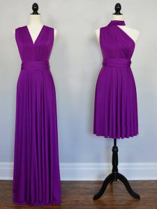 Purple Sleeveless Chiffon Lace Up Court Dresses for Sweet 16 for Prom and Beach and Wedding Party