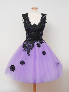 Knee Length Zipper Damas Dress Lilac for Prom and Party and Wedding Party with Appliques