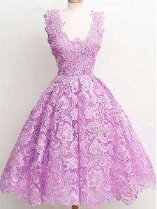 Customized Lilac Sleeveless Lace Zipper Quinceanera Court Dresses for Prom and Party and Wedding Party
