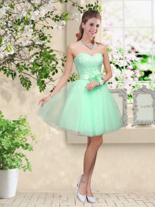 Sweetheart Sleeveless Court Dresses for Sweet 16 Knee Length Lace and Belt Apple Green Tulle