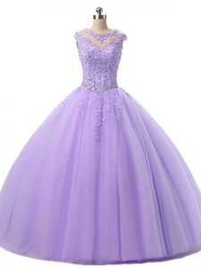 Beautiful Lavender Scoop Neckline Beading and Lace Quinceanera Gown Sleeveless Lace Up